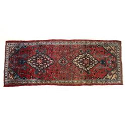 Tabriz Persian Hand Knotted Wool Runner Rug 1930's