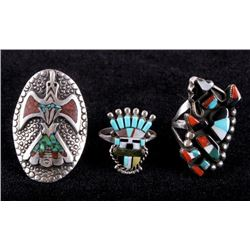Zuni Inlaid Multi-Stone Sterling Ring Collection