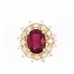 Antique Style Ruby & Diamond 14K Gold Ring