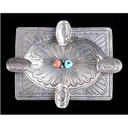 Navajo Old Pawn Turquoise & Red Coral Ashtray