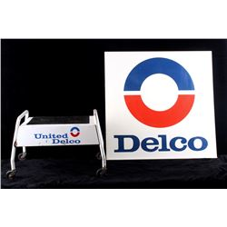United Delco Sign and Roll Seat/Step Stool