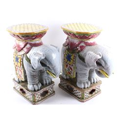 Hand Painted Large Ceramic Elephant Plant Stands