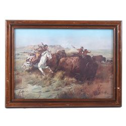 """Charles M. Russell """"Land of Good Hunting"""" Print"""