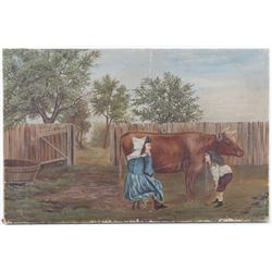 Early Original American Folk Art Painting c. 1800s