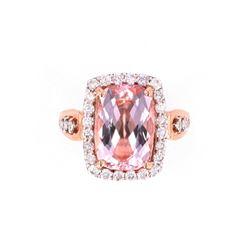 Morganite Beryl Intense Peach 14K Rose Gold Ring