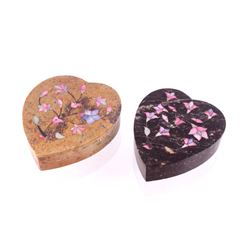 Heart Soapstone Dyed Mother of Pearl Inlaid Boxes