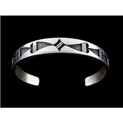 Navajo Temé Sterling Silver Cast Heart Bracelet