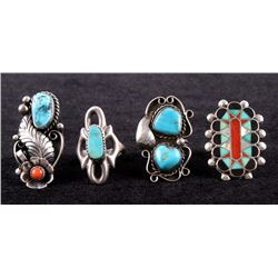 Zuni & Navajo Turquoise/Coral Ring Collection