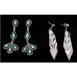 Two Pairs of Sterling Silver/Turquoise Earrings