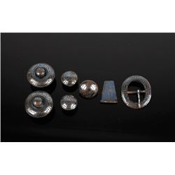 Blued Steel Vaquero Conchos & Headstall Buckle Set