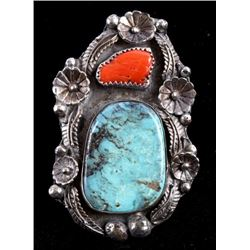 Navajo Cripple Creek & Coral Inlaid Sterling Ring