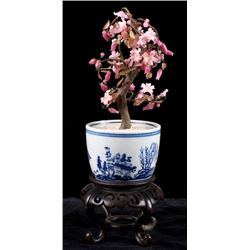 Carved Jade Cherry Blossom Tree Japanese Bowl