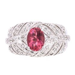 Vintage Rubellite & Diamond 10k White Gold Ring