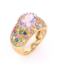 Fancy Pink Amethyst & Topaz 14k Yellow Gold Ring