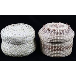 Northwest Coast & Papago Hand Woven Baskets w Lids