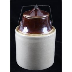 Salt Glazed Two Tone Stoneware Pottery Jar W/ Lid