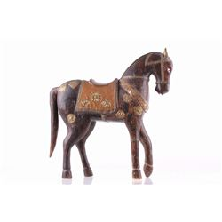 Castilian Horse Sculpture w/ Copper Adornments
