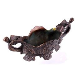 "Cherub Brass ""Gift Giving"" Art Nouveau Centerpiece"