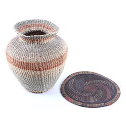 African Tribal Hand Woven Plaque & Basket