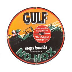 Gulf No-Nox Porcelain Enamel Reproduction Sign