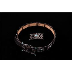 Navajo Turquoise & Silver Concho Belt with Buckles