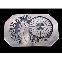 Hopi Signed Sterling Silver Belt Buckle