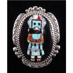 Zuni Signed Inlaid Sterling Kachina Ring