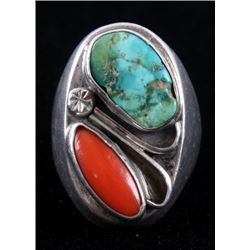 Zuni Cripple Creek & Coral Inlaid Sterling Ring