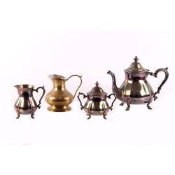Oneida German Silver Tea Set & Indian Kettle