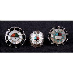 Zuni Sunface Sterling & Multi-stone Inlay Rings