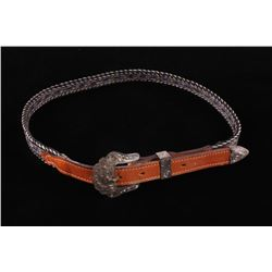 Horse Hair Hitched Belt & Silver Buckle & Tab