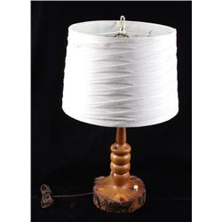 Late 1900's Rustic Turned Log Electric Table Lamp