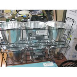HOMETRENDS GALVANIZED 6 INCH POT WITH STAND 2 PC