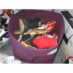 BIN OF ASSORTED SHOES