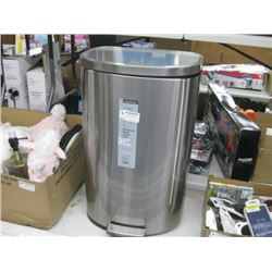 STAINLESS STEEL TRASH CAN DENTED