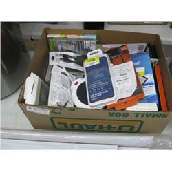 BOX OF IPHONES CASES AND CORDS