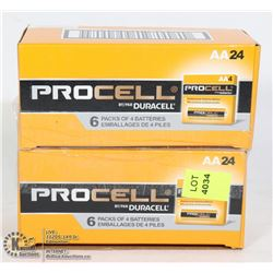 2 CASES OF PROCELL BY: DURACELL 24 AA BATTERIES