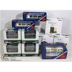 FLAT OF KATO AND TOMIX TRAIN SET BUILDINGS/