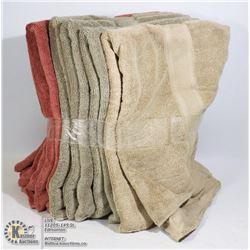 WAMSUTTA BUNDLE OF 8 TOWELS, CORAL & MOCHA COLORS