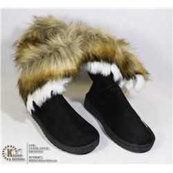 WOMENS BLACK FUR LOOK BOOTS SIZE 40