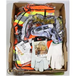LARGE FLAT OF NEW SAFETY GEAR INCLUDING VEST, GOAT