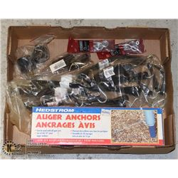 LARGE FLAT OF BUNGEE CORDS, AUGER ANCHORS & MORE