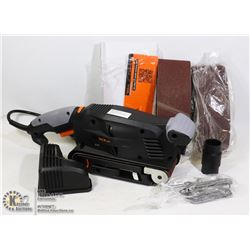 BELT SANDER WITH SANDING BELTS AND ACCESSORIES