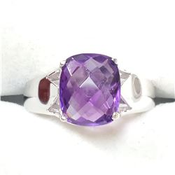 SILVER AMETHYST(6CT) RING (~SIZE 7)(~WEIGHT 5.7G)