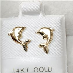 14K YELLOW GOLD DOLPHIN SHAPED  EARRINGS