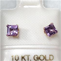 10K YELLOW GOLD AMETHYST  EARRINGS