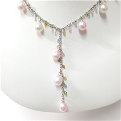 SILVER F.W.PEARL   NECKLACE (~LENGTH 18CM)