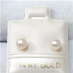 14K YELLOW GOLD PEARLS  EARRINGS