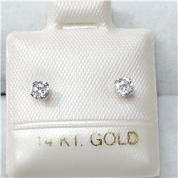 14K WHITE GOLD CUBIC ZIRCONIA  EARRINGS