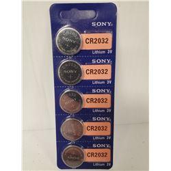 PACK OF 5 SONY CR2032 3V LITHIUM BATTERIES